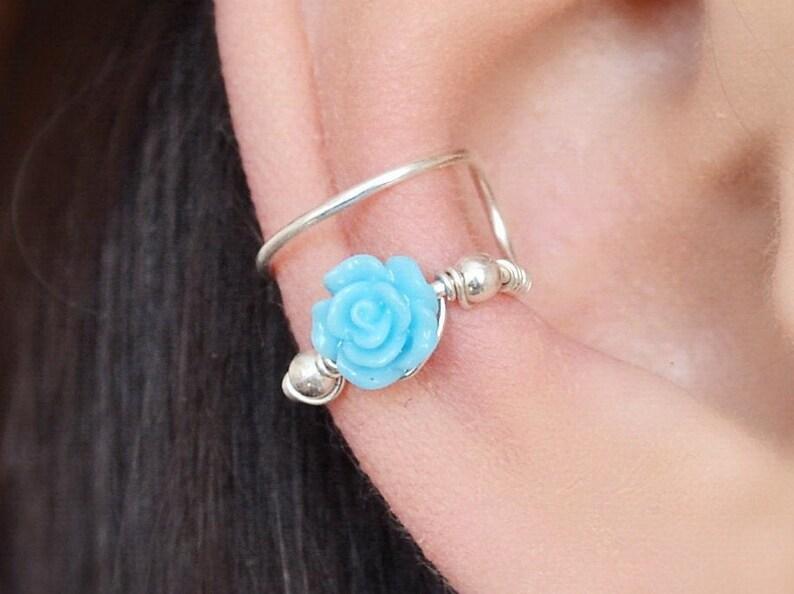 Blue Ear Cuff no piercing Rose Ear Cuffs Flower Earrings 2 - Blue