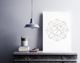 Poster abstract geometric 3 - Customizable - gilding - color-decoration - living room - bedroom