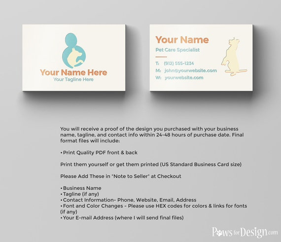 Pre Made Pet Care Business Card Pet Sitter Dog Trainer Pet Etsy