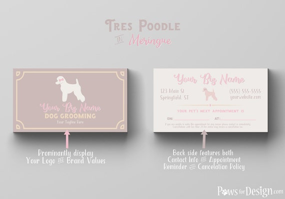 premade pet groomer business card tres poodle dog grooming pet grooming customizable - Dog Grooming Business Cards
