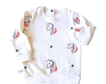 Kid's Sweatshirt Print unicorn/unicorn Print sweatshirt-sweatshirt-sweatshirt-print-print-cotton-handmade-hand made-unicorn-