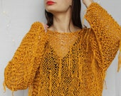 Loose knit sweater Hand knitted women Fringe Mustard brown Slouchy tunic Chunky knit Long sweater One size