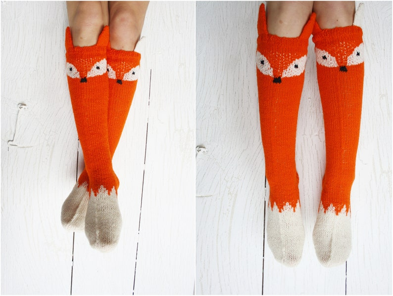 138bbf704 Fox sock Knit socks Thigh high socks Knit fox socks Animal