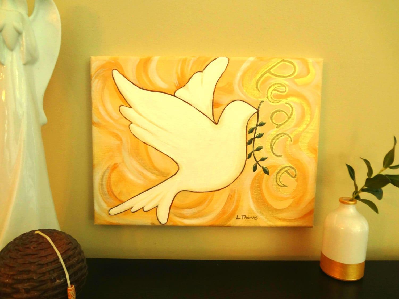Holy Spirit PaintingReligious ArtPeace Dove Wall Decor | Etsy