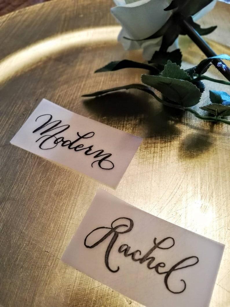 Handwritten Black Ink Calligraphy Vellum Place Cards
