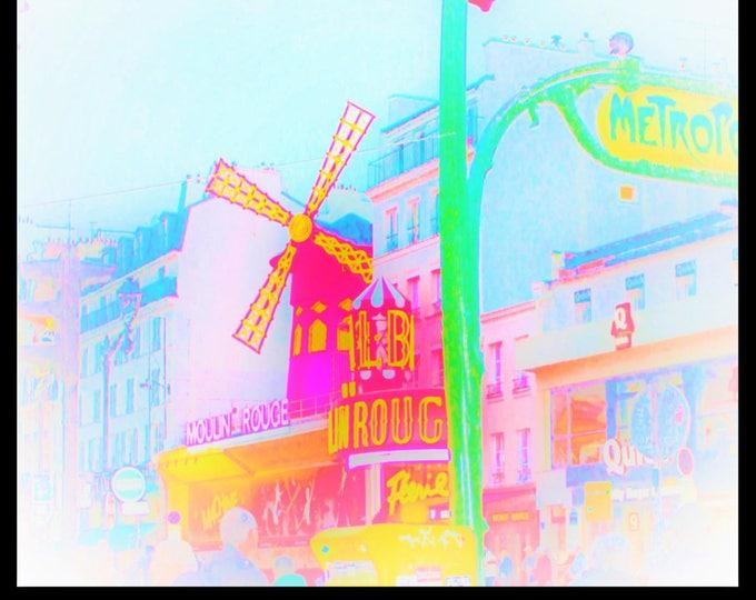 Color Paris photography Comic Pigalle 12 x 12 inches