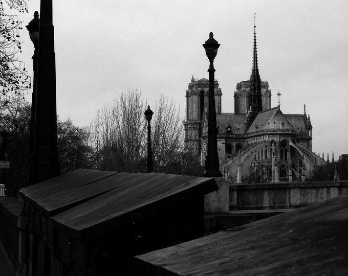 Black & white Paris Photography Ma Dame de notre Paris 12 x 9 inches