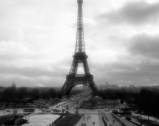 Wallpaper Tour Eiffel Arly black and white photography