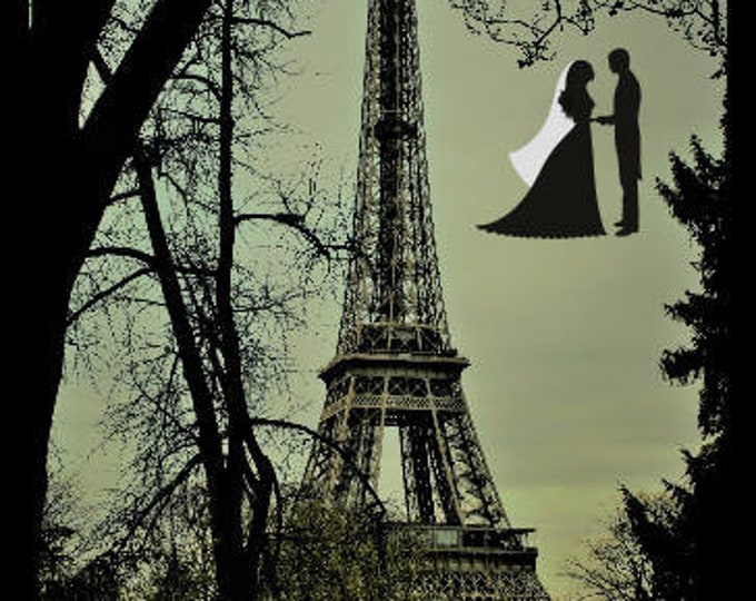 Color photography tour Eiffel retro You and Me 8 x 12 inches