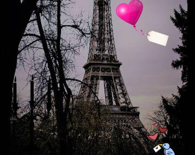 Color photography tour Eiffel retro Declaration of love 8 x 12 inches