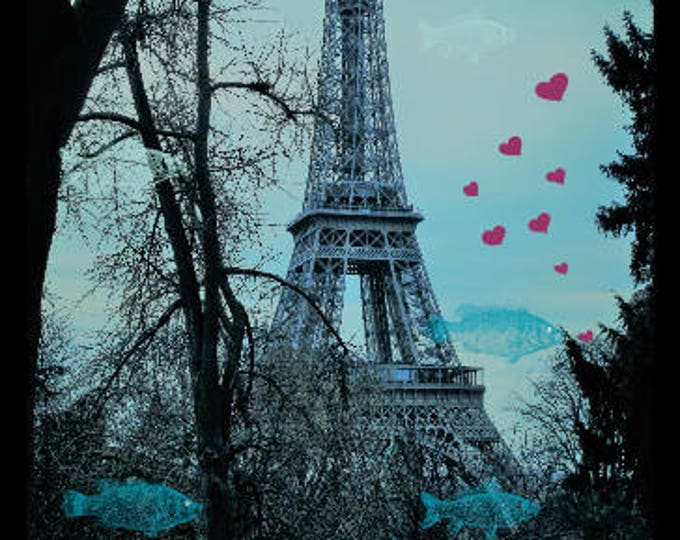 Tour Eiffel Missing you 8 x 12 inches