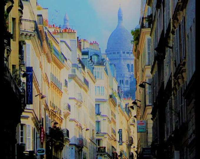 Color Paris photography Pigalle Yellow Blue 8 x 8 inches