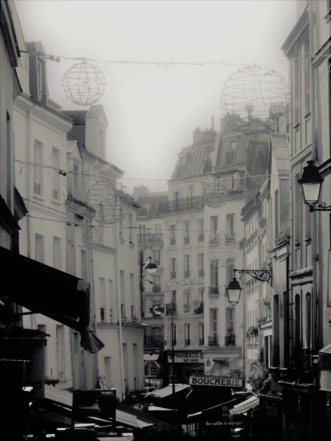 Black and white photography Rue Mouffetard en hiver 11 x 8 inches ...