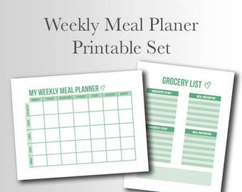 Weekly Meal Plan Printable   Grocery Shopping List    Kitchen organizer    Shopping, Grocery, Food List    Instant Download