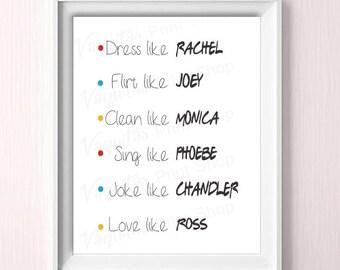 Friends Tv Show, Friends, Quote, INSTANT DOWNLOAD, best friends, Rachel, Joey, Monica, Phoebe, Chandler, Ross, quotes print, decor, gift