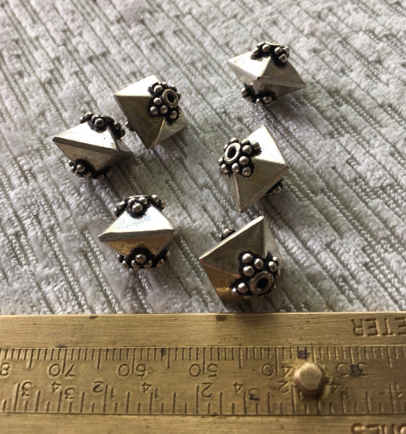 Vintage Bali Sterling Silver Dome Shaped Beads 10mm