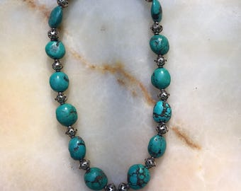 Turquoise and Bali Silver Beaded Necklace with Turquoise Nuggetr Pendant and  Sterling Toggle Clasp