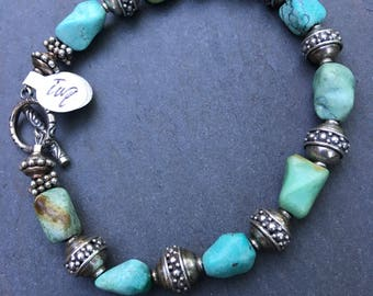 Turquoise and Bali Sterling Beaded Bracelet with Toggle Clasp