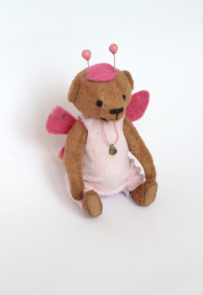Mini teddy Small bear plush doll New Baby doll Babyshower present idea Girls room decor Unique teddy butterfly Movable paws Palm size