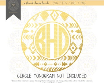 Tribal monogram SVG, aztec monogram svg, eps, dxf, png file, Silhouette, Cricut, Cutting file