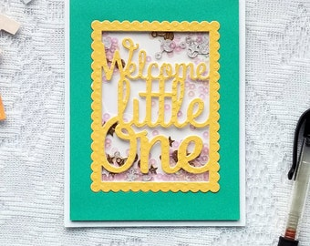 Handmade Baby Shower Greeting Card | Welcome Little One | Envelope Included | Ready to Ship | Brite Designs Studio