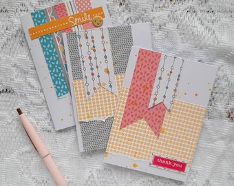 Stationary Greeting Cards Bundle | Three Handmade Greeting Cards | Envelopes Included | Ready to Ship | Handmade Friendship Card Set