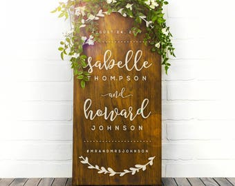 Welcome Wedding Sign Wood, Couples Name Sign, Wedding Date Sign, Custom Wood Sign, Engagement Gift, Wedding Gift, Modern Home Decor (GP1125)