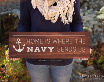 US Navy Gifts, Navy Wife, Couples Gift, Wood Sign, Home Decor, Home Sign, Gift for Her, Anniversary Gift, Custom Wall Plaque (GP1077)