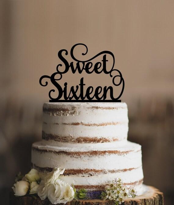 Elegant Sweet Sixteen Birthday Topper Script Cake