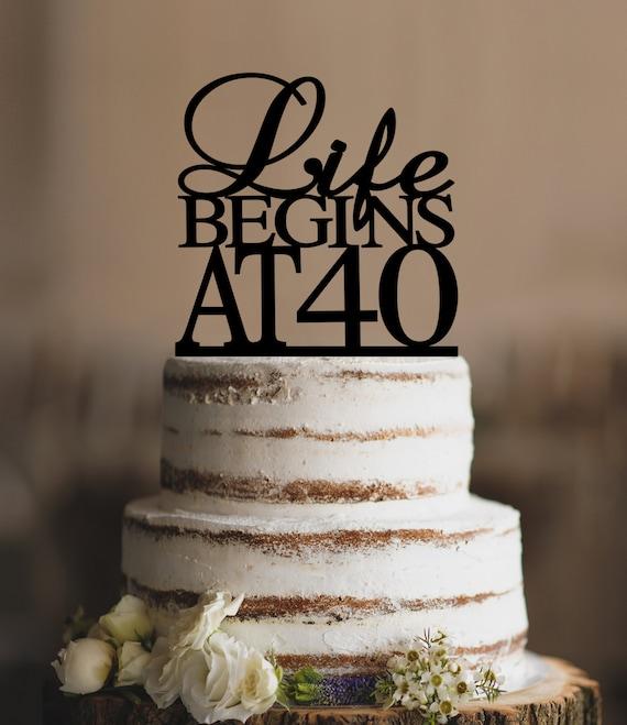 Life Begins At 40 Birthday Topper Elegant 40th