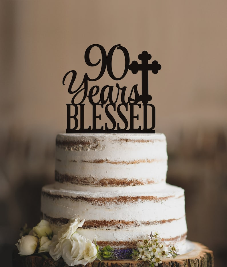 90 Years Blessed Cake Topper Classy 90th Birthday