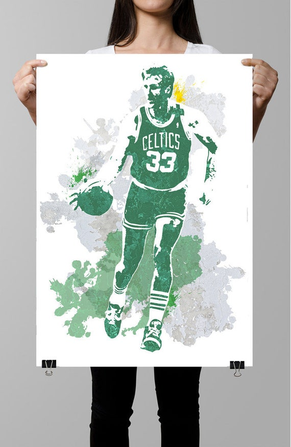 JERSEY LARRY BIRD art print//poster BOSTON CELTICS FREE S/&H