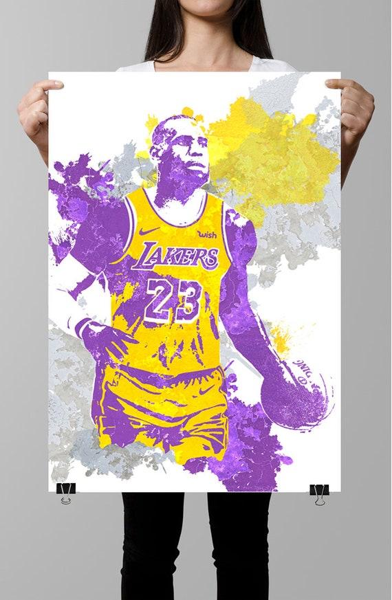 Lebron James La Lakers Wall Art Sports Poster Fan Art Etsy