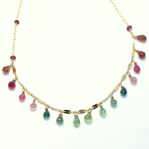 Gemstone necklace Dainty Necklace Tourmaline Pendant Gold filled Tourmaline Crystal Statement Necklace Watermelon Tourmaline Necklace