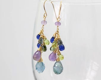 Multi Gemstone Earrings, Purple Blue Earrings, Wire Wrapped Earrings, Gemstone Cluster Earrings