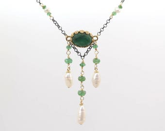 Genuine Emerald and Gold Filled Necklace, Emerald and Pearl necklace, Natural Emerald Art Nouveau necklace,  May Birthstone