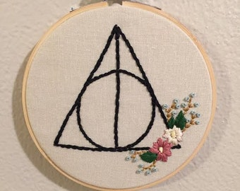 Harry Potter Deathly Hallows with Floral