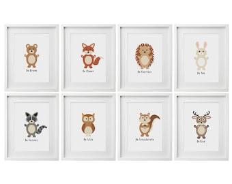 Woodland Animals Cross Stitch Pattern   Quote Cross Stitch   Nursery Cross Stitch   Beginners Cross Stitch   Needlework Pattern
