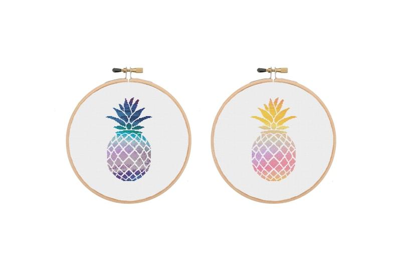 Fruit Cross Stitch Beginners Cross Stitch Pineapple Cross Stitch Pattern Food Cross Stitch Watercolour Cross Stitch