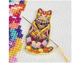 Mandala Cat Needle Minder   Enamel Needle Minder   Magnetic Needle Minder   Cross Stitch Gift   Sewing Accessory   Cat Gift   Fridge Magnet