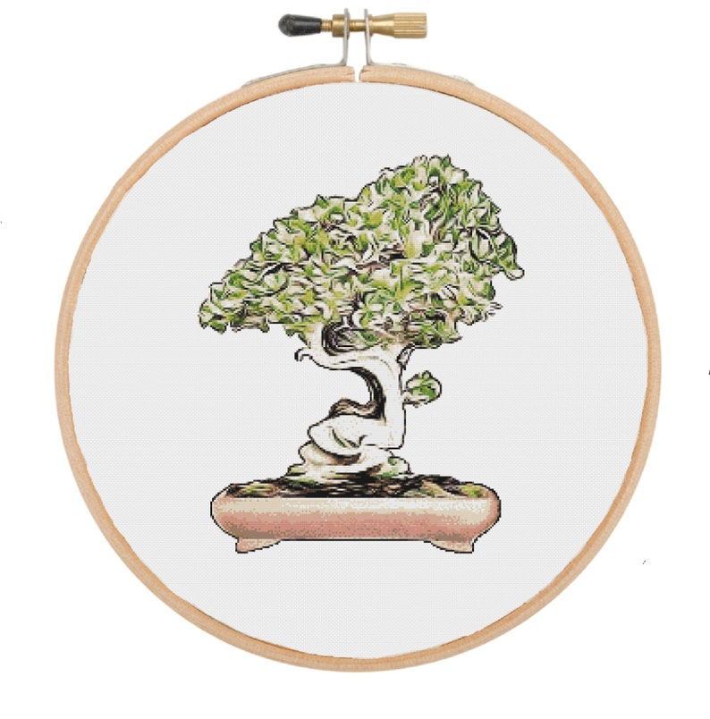 Modern Cross Stitch Bonsai Tree Cross Stitch Pattern Cactus Cross Stitch Cross Stitch PDF Floral Cross Stitch