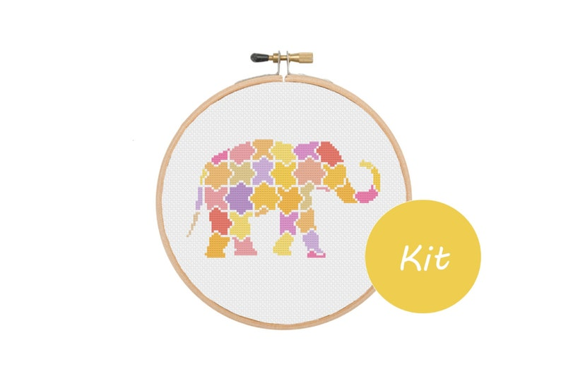 DMC Thread Counted Cross Stitch Kits for Beginners Elephant 14CT Aida Cloth Needles Home Wall Decor Elephant