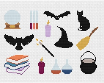 Wizard Cross Stitch Pattern, Witch Cross Stitch Pattern, Modern Cross Stitch, Beginners Cross Stitch, Halloween Cross Stitch