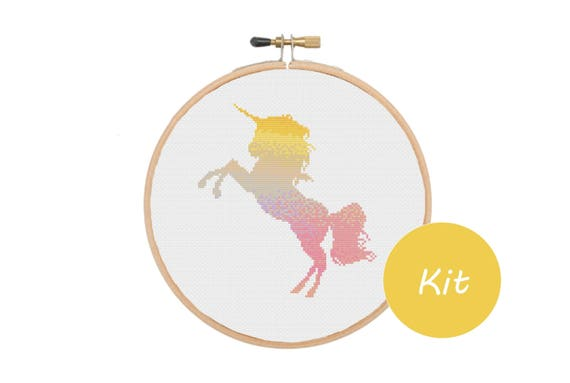 Watercolour Unicorn Cross Stitch Kit from Meloca Designs
