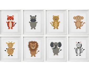 Safari Animals Cross Stitch Pattern   Baby Cross Stitch   Nursery Cross Stitch   Beginners Cross Stitch   Needlework Pattern   Stitch PDF