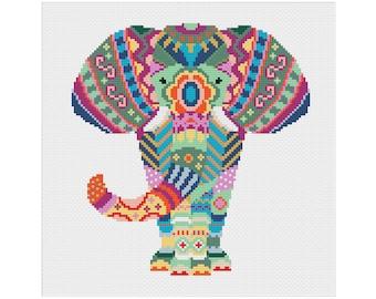 Elephant Cross Stitch Pattern, Mandala Cross Stitch, Geometric Cross Stitch, Animal Cross Stitch, Beginners Cross Stitch, Cross Stitch PDF