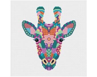 Mandala Giraffe Cross Stitch Pattern   Geometric Cross Stitch   Animal Cross Stitch   Beginners Cross Stitch   Fun Cross Stitch PDF