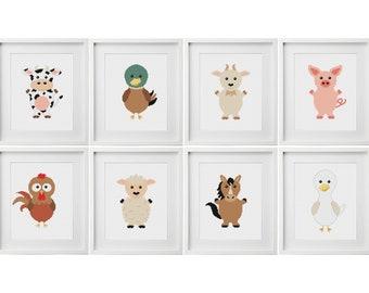 Farm Animals Cross Stitch Pattern   Baby Cross Stitch   Nursery Cross Stitch   Beginners Cross Stitch   Needlework Pattern   Embroidery PDF
