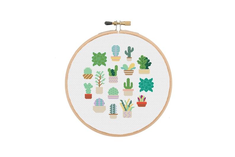 Plant Cross Stitch Floral Cross Stitch Succulent Embroidery Modern Cross Stitch Cross Stitch Sampler Cactus Cross Stitch Kit