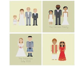 Melocharacters Wedding Edition Custom Cross Stitch Pattern   Personalised Family Cross Stitch   Wedding Cross Stitch   Cotton Anniversary